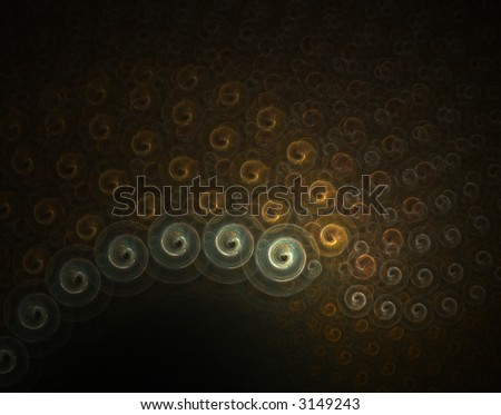 Golden snails, abstract fractal background - stock photo