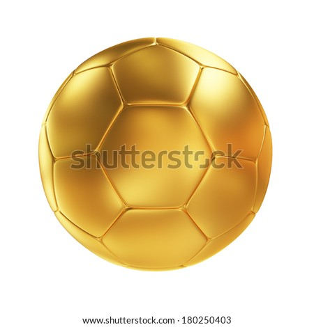 Golden Soccer Ball Isolated on White Background - stock photo