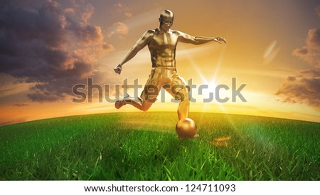Golden Soccer player on playing field 3D concept - stock photo