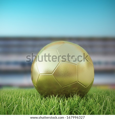 Golden Soccerball 3D on playing field under beautiful sundown - stock photo