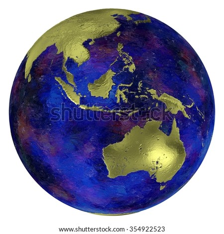 Golden Southeast Asia and continent Australia on a globe with dark blue oceans, 3d render. - stock photo