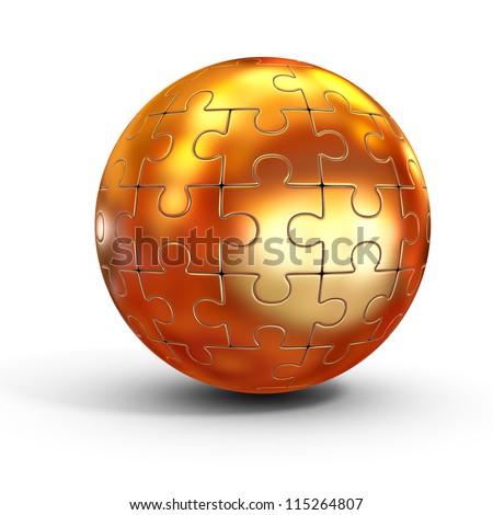 golden spherical jigsaw - stock photo