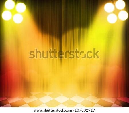 Golden Stage Spotlight Background - stock photo