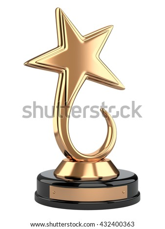 Golden star award. 3d image isolated on a white background - stock photo