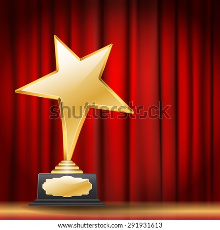 golden star award on red curtain background. raster version - stock photo