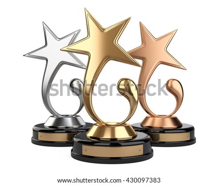 Golden star award set. 3d image isolated on a white background - stock photo