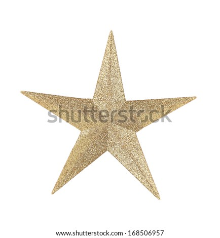 Golden star christmas decoration. Isolated on a white background. - stock photo