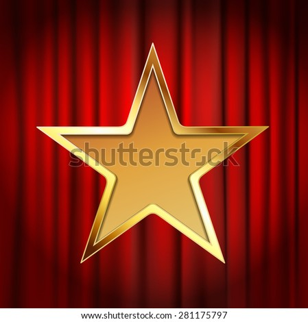 golden star frame with red theater curtain background - stock photo