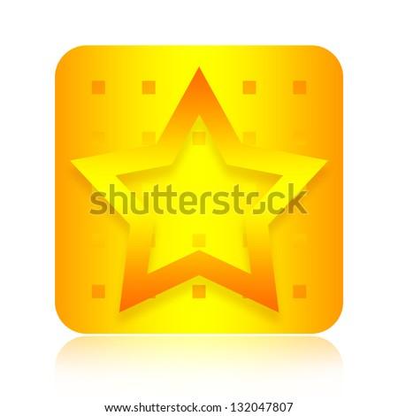 Golden star icon - stock photo