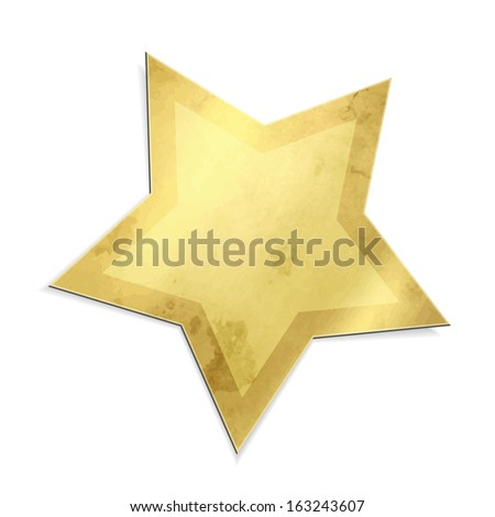 Golden star isolated - stock photo