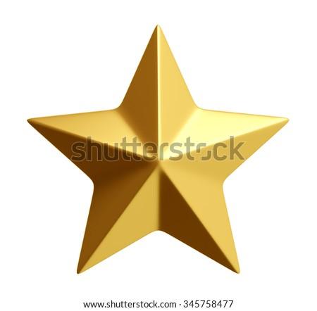 Golden star isolated over white 3d rendering - stock photo