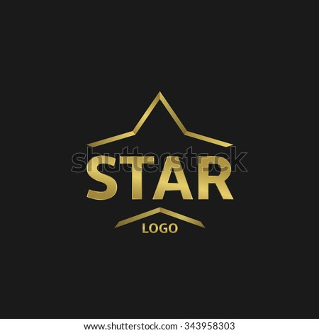Golden Star logo on the black background. Raster copy - stock photo