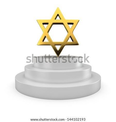 Golden star of David on the podium - stock photo