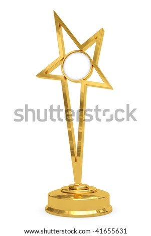Golden star prize on pedestal with blank round plate isolated on white. High resolution 3D image - stock photo