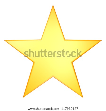 golden star render illustration - stock photo