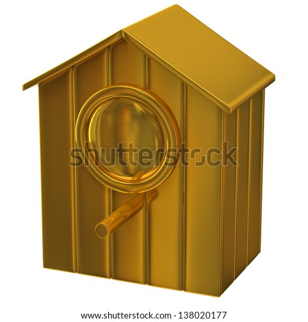 Golden starling house icon - stock photo