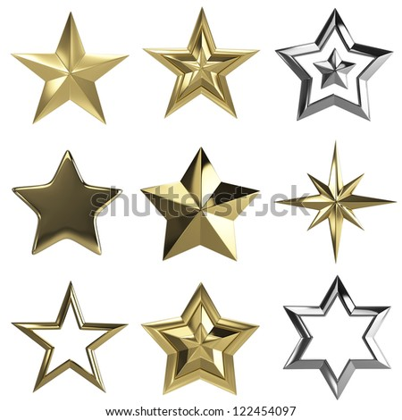 Golden stars collection isolated with clipping path - stock photo