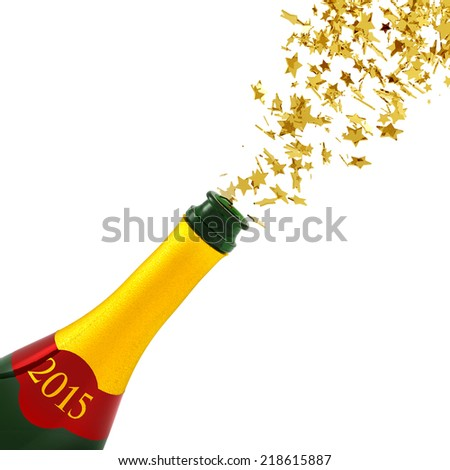 golden stars exploding from a bottle of champagne - stock photo