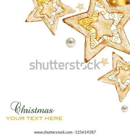 Golden  stars, ornaments and holiday decorations isolated on white background - stock photo