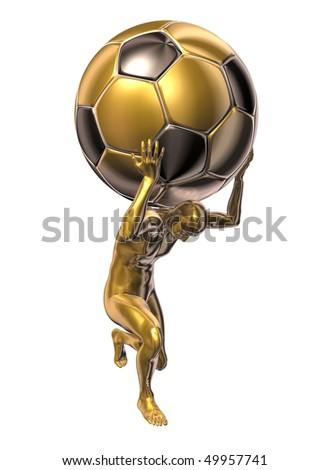 Golden statue of football player - stock photo