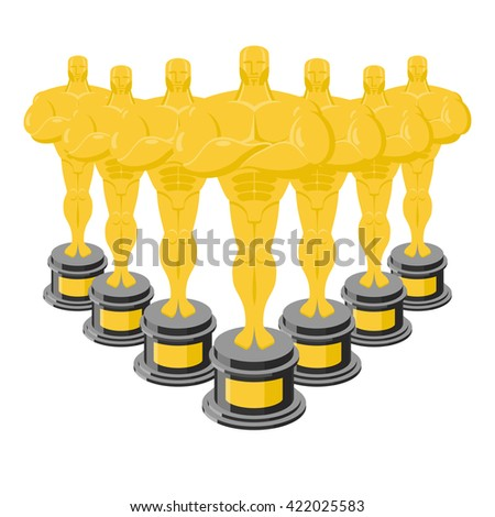 Golden statuette. Many gold figures. Golden statue. Collection of gold statuettes - stock photo