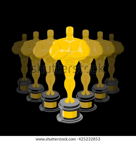 Golden statuette on black background. Dream Director. Gold figure   - stock photo