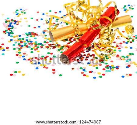 golden streamer, party cracker and confetti over white. festive decoration background - stock photo