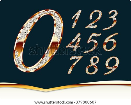 Golden stylish digits, inlaid , with shadow and reflections. Set. Zero 0 One 1 Two 2 Three 3 Four 4 Five 5 Six 6 Seven 7 eight 8 nine 9. - stock photo