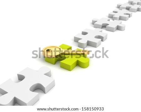 golden success key on green Jigsaw puzzle - stock photo