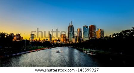 Golden Sunset, Melbourne Australia - stock photo