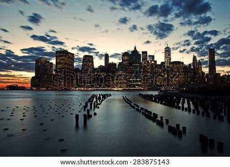 Golden sunset on lower Manhattan - stock photo