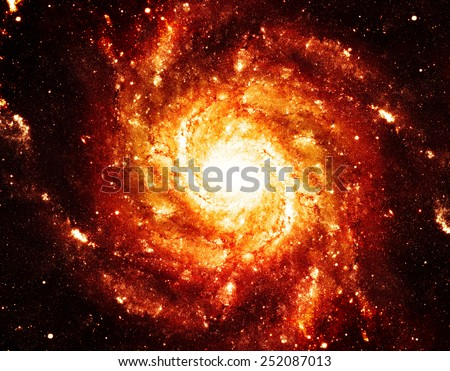 Golden Supernova - Elements of this Image Furnished by NASA - stock photo