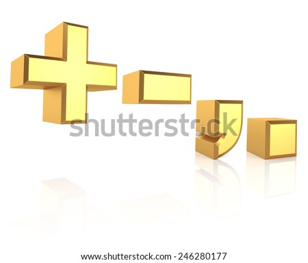 Golden symbols isolated on white background. 3d render - stock photo