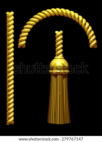golden Tassel with rope - stock photo
