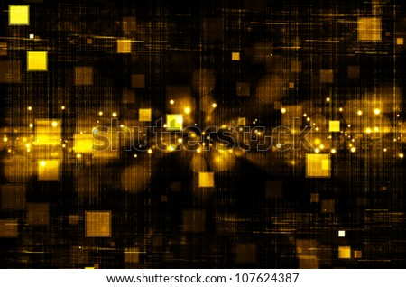 golden tech square abstract background - stock photo