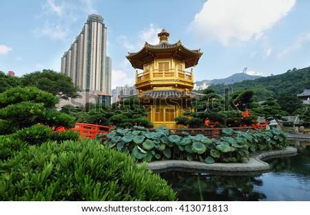 Golden temple in Nan Lian garden, Hong Kong - stock photo