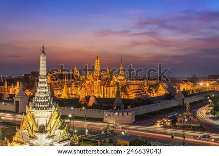 Golden Temple Wat Phra Kaeo, Temple of the Emerald Buddha Bangkok, Asia Thailand - stock photo