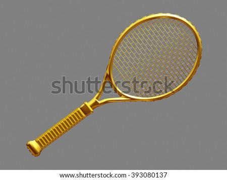 golden tennis racket - stock photo