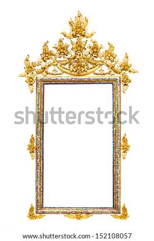 Golden Thai rectangle style frame isolated on white background - stock photo