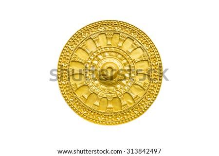 Golden Thammachak wheel was symbol of Buddhism isolate on white background - stock photo
