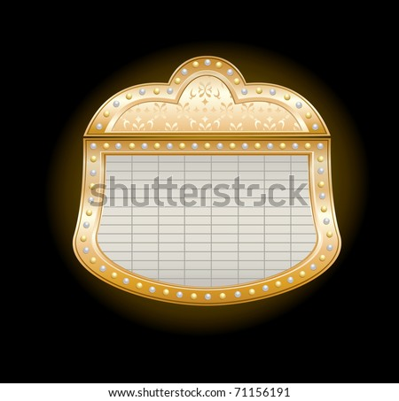 Golden Theater Marquee with lights on black, - stock photo