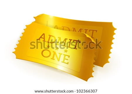 Golden tickets bitmap copy - stock photo