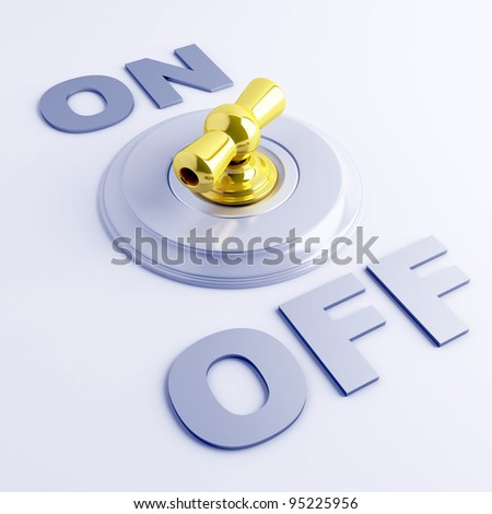 golden toggle switch with on-off sign on a light blue background - stock photo