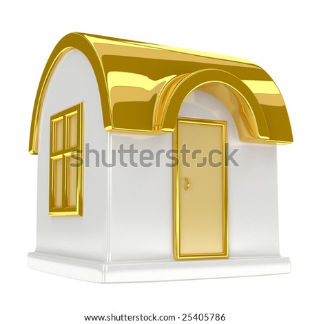 golden toy house, high quality 3d render - stock photo