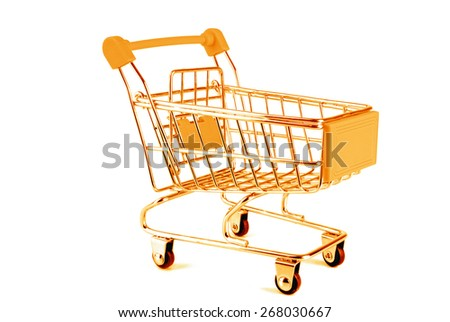 golden trolley isolated on white - stock photo