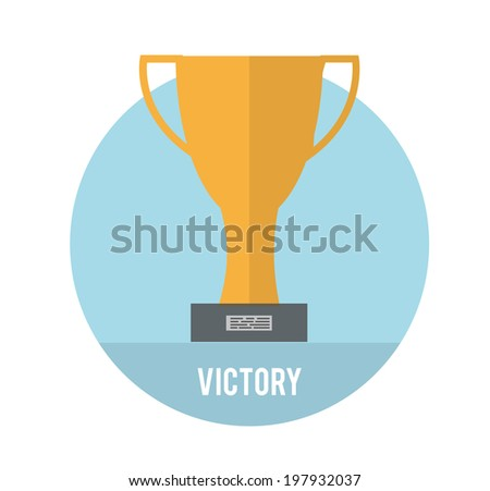 Golden trophy winner cup. Victory concept. Raster version - stock photo