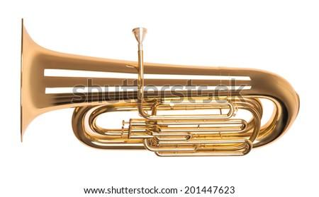 Golden tuba in hard light isolated on white background - stock photo