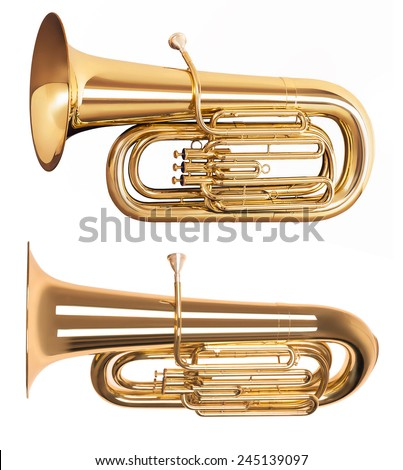 Golden tuba isolated on white background - stock photo