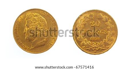 Golden Twenty French Coin Louis Philippe - stock photo