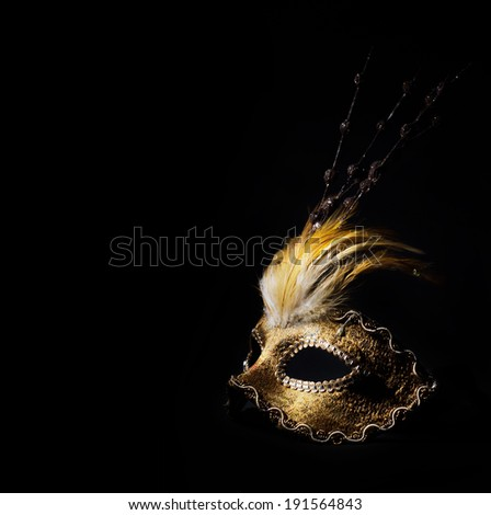 Golden venetian mask over black background - stock photo